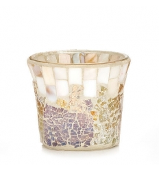 Gold and Pearl Mosaic - świecznik na sampler/tealight