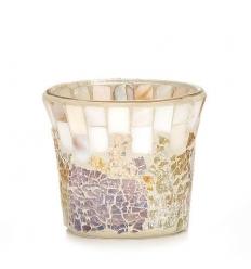 Gold and Pearl Mosaic - świecznik na sampler/tealight